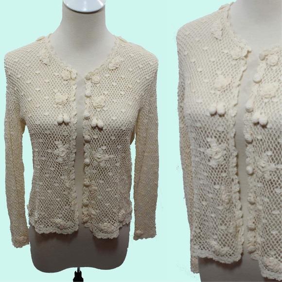 Vintage Sweaters 1940s Style Cherry Crochet Lace Cardigan Poshmark